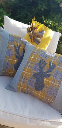 Handmade mustard and sky cushion made from HarrisTweed woolwith appliquéd stag