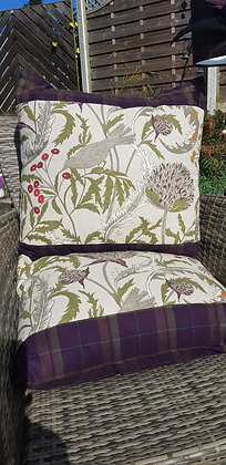 Extra large handmade cushions floral and bird design, olive, creams and plum