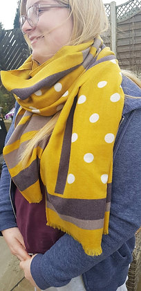 Supersoft mustard and grey spot and stripe scarf