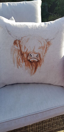 Hunky highland cow cushion with polyester inner.