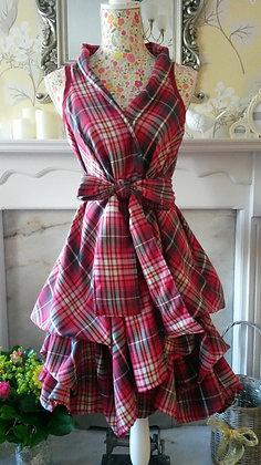 Handmade Pink Tartan trench wrap dress