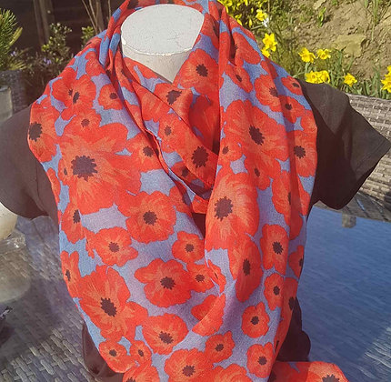 Red poppy on blue lightweight fashion scarf.