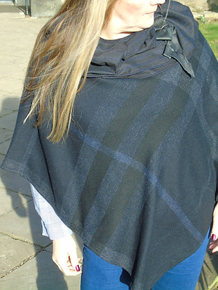 One-off handmade poncho made from dark navy blue check wool