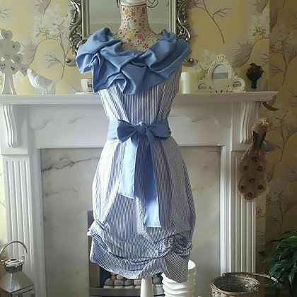 Blue and white stripe tunic style dress with a blue ruched collar and sash