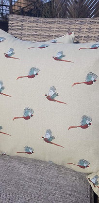 Handmade pheasant cushions made from Sophie Allport canvas cotton