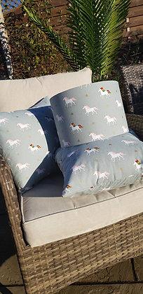 Handmade unicorn cushion. Made from Sophie Allport fabric