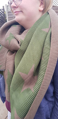 Supersoft green and khaki crinkle scarf with stars, which is reversable