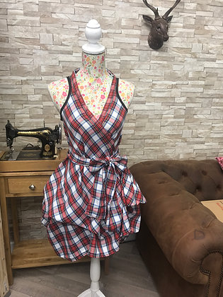Handmade vivienne dress tartan wrap and ruched style dress