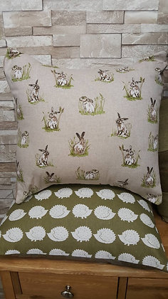 Hare and friends on a linen look fabric