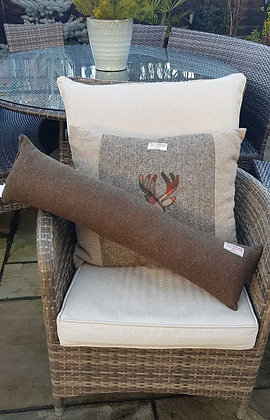Handmade draught excluder made from Green herrinbone Harris tweed