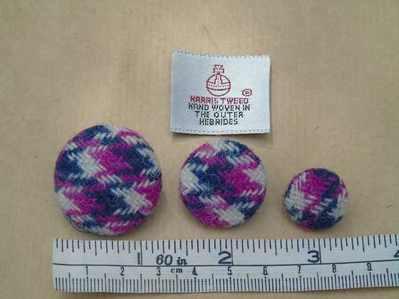 Navy, cream and cerise pink dogtooth Harris tweed buttons