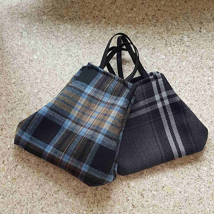 Grey and blue tartan face covering with elasticated loops