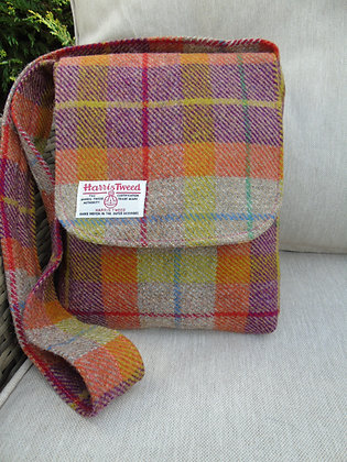 Handmade messenger bag made from orange, pink and oatmeal check Harris Tweed