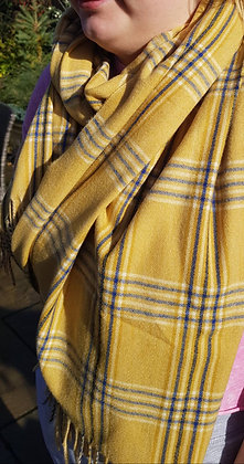 Supersoft mustard and navy wool blend check scarf