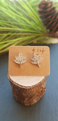925 sterling silver leaves earrings with cubic zirconia
