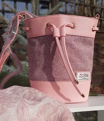 SnowPaw bucket bag made from Harris Tweed, light pink herringbone
