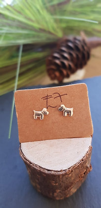 925 sterling silver terrier dog earrings with sterling silver butterfly backs