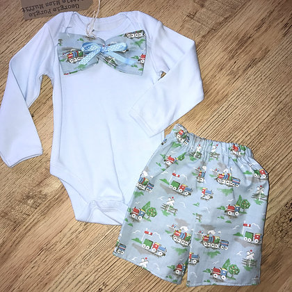 Babygrow and shorts made from Kath Kidston train fabric