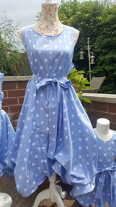 Blue and white polkadot Summer tea party Alice dress
