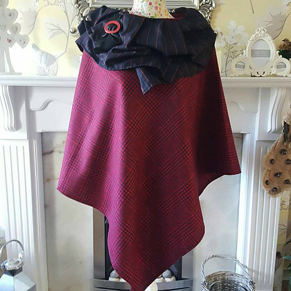 Handmade 100% wool poncho made from red and black check wool