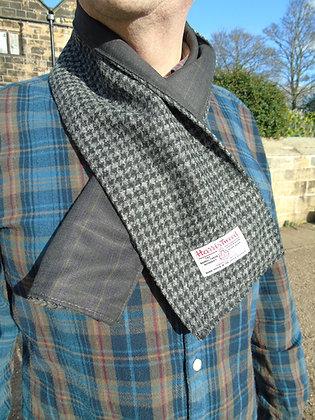 Handmade scarf made from grey dogtoothHarris Tweed