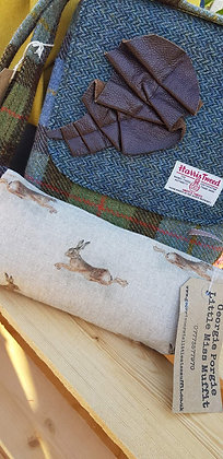 Handmade leaping hare case. Linen style.