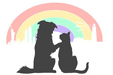Dog & Cat silhouette overlooking a rainbow over the new york city skyline