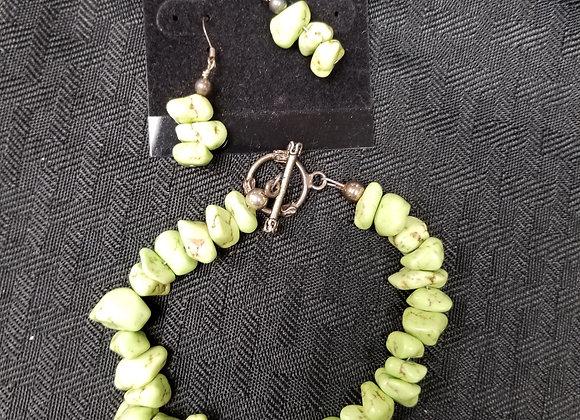Green Turquoise Earrings and Bracelet