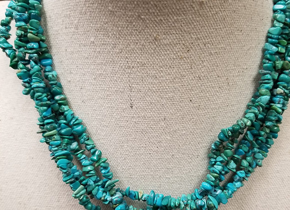 Multi-Strand Turquoise Rock Necklace