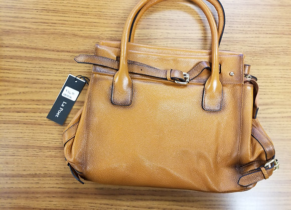 La Poet Leather Handbag in Camel color
