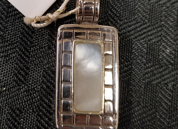 Mother of Pearl in Sterling Silver Omega Charm