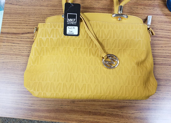 MKF Yellow Embossed Handbag (3 piece set)