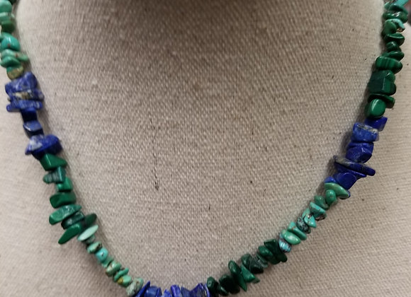 Turquoise and Lapis Rock Necklace and Bracelet Set