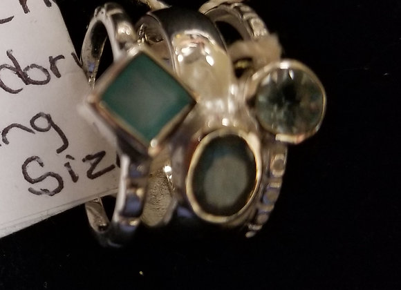 Aqua Chaceldony and Labradorite in Sterling Ring