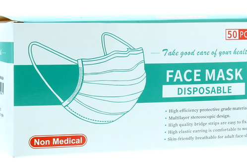 Box of 50 disposable face masks (3ply)