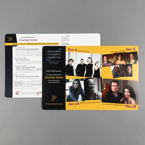 PSO Chamber Series concert invitation postcard