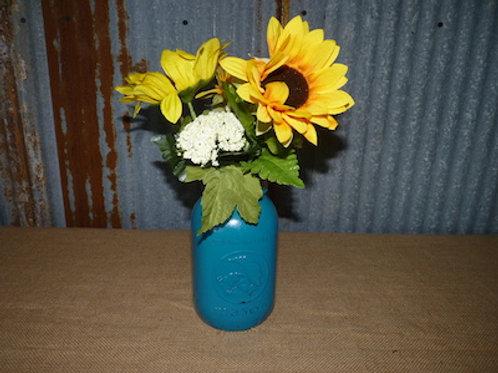 Turquoise Mason w/ Sunflowers - QTY 14