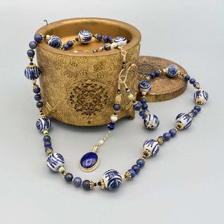 Chinese Porcelain and Lapis Beads Necklace After Custom Order by A Wear of Prayer