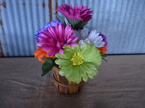 Wood Basket W/ Pink Flowers - QTY 10