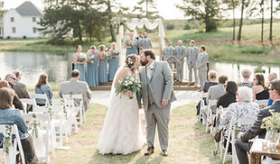 Fall Wedding at Red Oak Valley - Outdoor Ceremony Lake - Missouri Wedding Venues