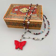 Butterfly Custom Garnet Necklace After Custom Order by A Wear of Prayer