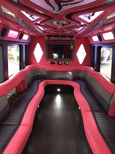 Pink Flamingo Limo Bus Interior - All Ab