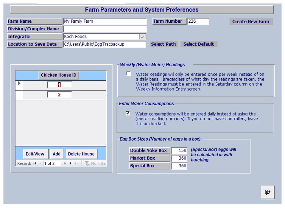 Farm Parameters - Egg Trac Software by Chick Pro