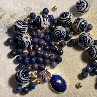 Chinese Porcelain and Lapis Beads Before Custom Order by A Wear of Prayer