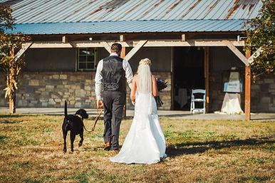 Bride, Groom, and Dog - The Barn at Broo