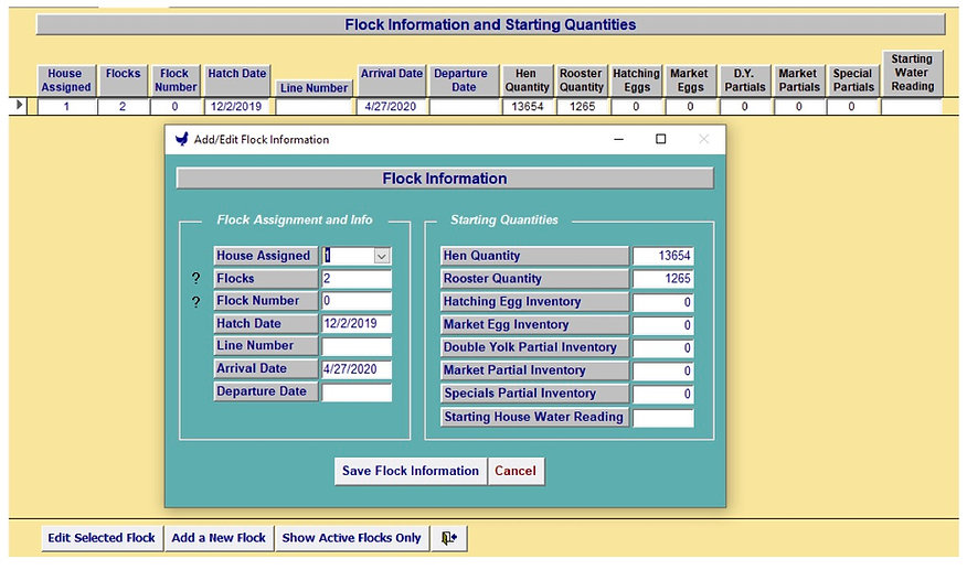 Add-Edit Flocks View - Egg Trac Software by Chick Pro