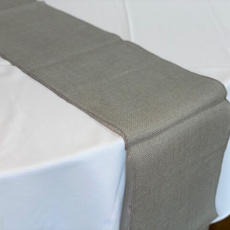 Grey Burlap Table Runner