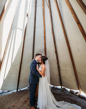 Bride and Groom in Tipi at Wicked Pony R