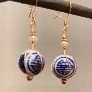 Chinese Porcelain Bead and Pearl Earring After Custom Order by A Wear of Prayer