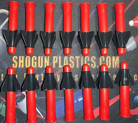 Red Missile Long Black Fin - Set of 14